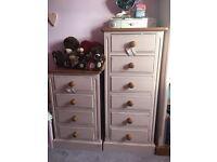 2 x pine bedroom draws