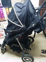 VALCO QUAD STROLLER AND A PEG PEREGO CAR SEAT