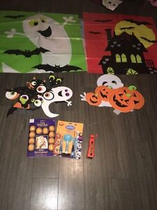 Halloween decorations and carving kit. In good condition.