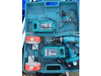 Makita cordless drill, 3 batteries, 2 chargers and case