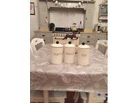 Shabby chic tea coffee and sugar pots