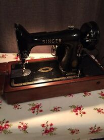 Singer 99 knee operated sewing machine working