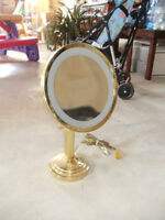 Brass Magnifying Vanity / Make-Up Mirror with Light