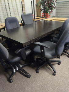 Large Office desk table with 4 chairs