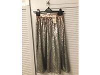 Stunning Silver/ Bronze Miss Selfidge Sequinned Skirt- Size 8, Brand New