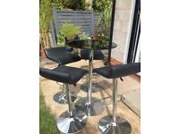 Black glass bistro table and 4x stools