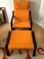 IKEA Orange POANG Chair with Footstool