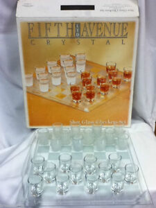 NEW Fifth Avenue Shot Glass Checkers Set