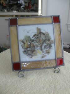 SMALL OLD VINTAGE SQUARE LEADED STAINED GLASS PANEL
