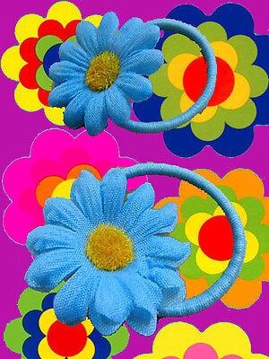 A66✪ 70er Jahre Hippie Flower-Power Margeriten Haargummis Zopfgummi blau