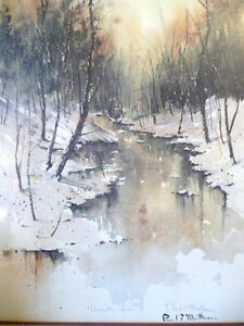 "Winter Landscape Signed,Numbered,  by Paul Mathews, ""Winter Sun"" Stratford Kitchener Area image 2"