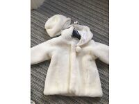 Girls faux fur coat and hat