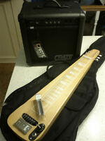 Morrell Electric Lap Slide Guitar w/ case & Crate-BX15 Amp