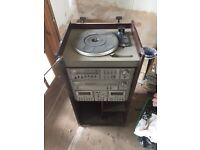 2 Record Player Stacks Armstead Tape Amplifier Cabinet