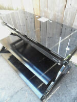 Black Glass 3 Tier TV STAND Flat Screen TV Media TABLE