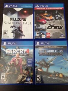 Jeux ps4: killzone, farcry4, the crew, air conflicts