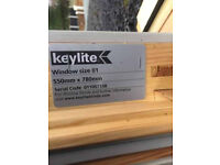 X 1 Keylite roof window 550mm x 780mm very good condition, second hand £200 RRP