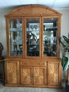 Solid oak two piece china cabinet and hutch - gorgeous!