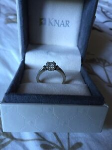 White Gold Engagement Ring with Black Diamonds