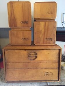 Vintage Wood Bread Box and Canister Set