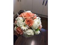 Peach silk wedding bouquet flowers bundle