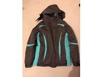 MOUNTAIN WAREHOUSE PARALELL SKI JACKET, SIZE 14, BROWN/TURQUOISE, VERY GOOD CONDITION HARDLY WORN