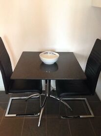 Black Solid Marble 1mtr Square Table (table only)