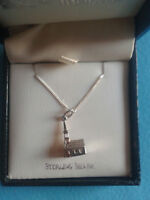 STERLING SILVER CHURCH PENDANT & CHAIN / BRAND NEW IN BOX