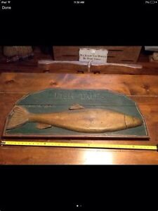 Antique Wooden Fish Tale Sign