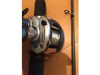 Abu silver max bait caster reel and rod