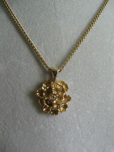 "BRILLIANT OLD VINTAGE 18"" GOLDTONE CHAIN NECKLACE / NUGGET PENDA"