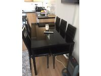 DINING TABLE with 6 chair and white coffee TABLE