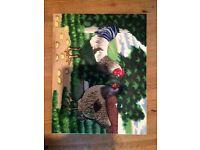 Glazed ceramic wall art - chicken and cockerel