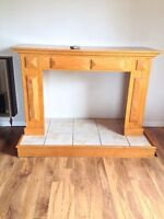 Fireplace mantel, hearth and propane insert for sale