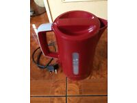 Mugs, wine glasses, toaster, kettle