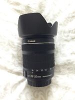 Canon EF-S 18-135mm f/3.5-5.6 IS STM lens with lens hood