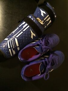 Girls Size 2 Adidas Soccer Shoes and Shin Pads