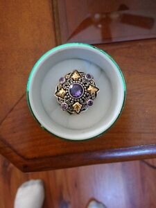 Sterling silver amethyst with 18K gold accents ring