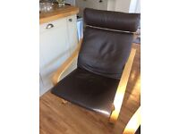 2 ikea Poang leather chairs and footstool