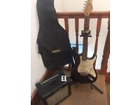 Electric guitar with amp stand cables and tuner!