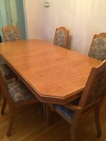 Dining room set, chairs and hutch included.