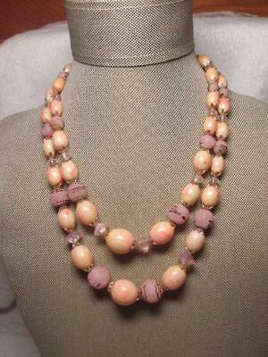 Vintage Hong Kong 2 Strand Pink Snowball Marbled Plastic Bead Choker Necklace Plastic Bead Choker