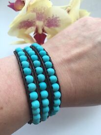 Natural Turquoise and Leather Wrap Bracelet.