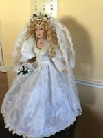 Bride Doll with blusher on veil, box and stand included