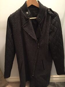 Women's wool coat with faux leather sleeves Cambridge Kitchener Area image 1