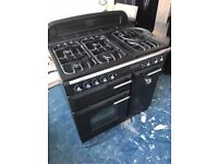 Black Classic 90 Range Cooker with extractor fan and full size splash back