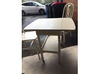 Shabby chic small dropleaf table and two chairs