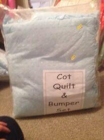 Blue cot quilt & bumper set New