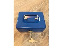 "Blue 4"" cash box/tin with carry handle and coin slot"