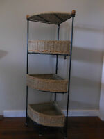Corner Wicker Basket Storage Stand